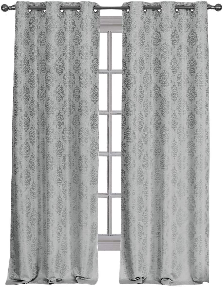 Royal Hotel Paisley Jacquard Gray, Top Grommet Blackout Window Curtain Panels, Pair/Set of 2 Panels, 36x108 inches Each