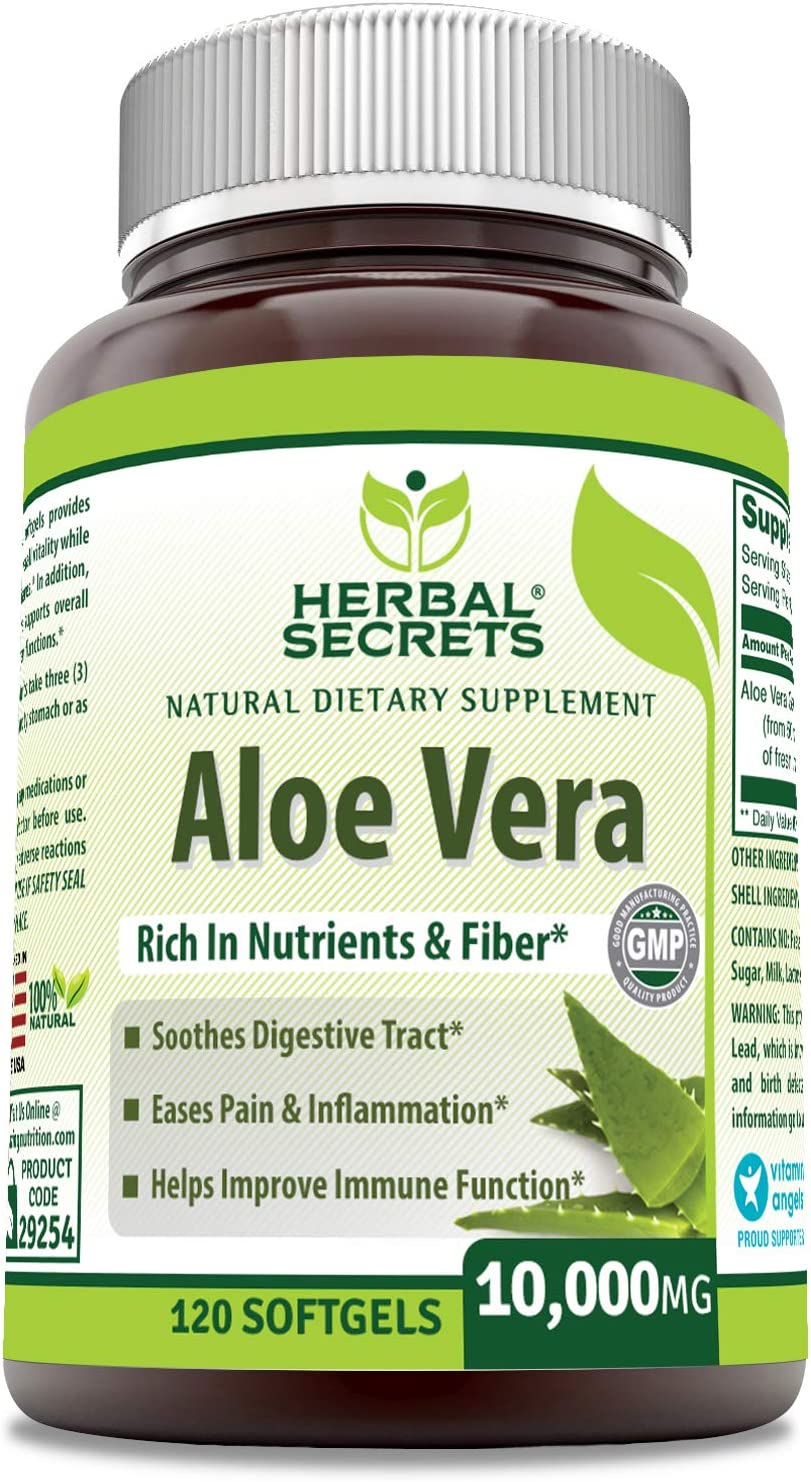 Herbal Secrets Aloe Vera 10000 Mg, 120 Softgels (Non-GMO) - Regulates Intestinal Bacteria, Soothes Digestive Track, Helps Improve Immune Function*: Health & Personal Care