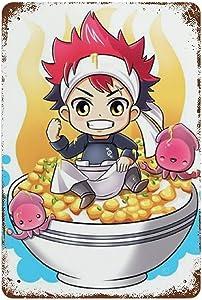 nsnabawanan Food Wars Shokugeki No Soma Anime Theme Pattern Iron Mural, 11.8×7.9 in Retro Rust Painting, Indoor Metal tin Sign Decoration Craft