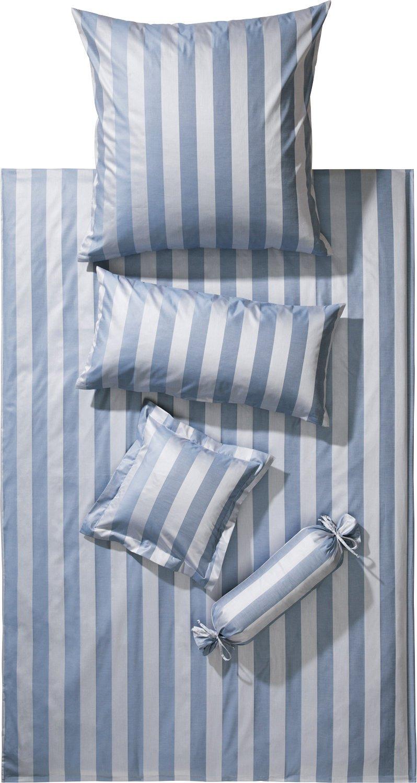 Curt 135 Bauer Bettwäsche Como blau Silber 135 Curt x 200 cm 617566