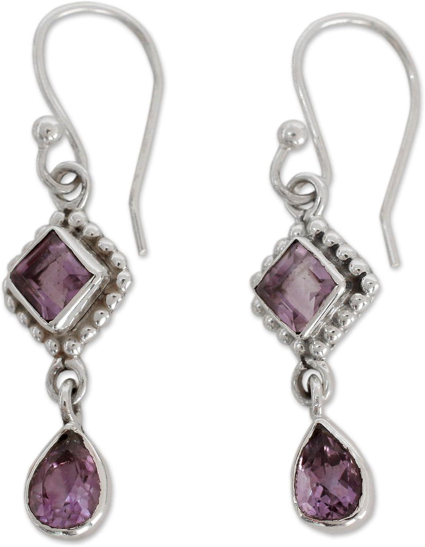 NOVICA Amethyst and .925 Sterling Silver Dangle Earrings, Purple Spark'