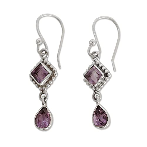 NOVICA Amethyst and .925 Sterling Silver Dangle Earrings, Purple Spark