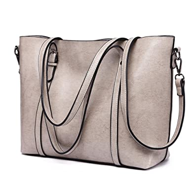 4ffa0b1c115f0 MSLL Damen Tasche Handtasche Shopper Schultasche Schultertasche aus Kunst  Leder Groß (Grau)