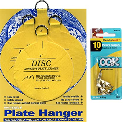 Flatirons Disc Set of Four 4 Inch Adhesive Plate Hangers and OOK Readynail 10lbs. Picture  sc 1 st  Amazon.com & Amazon.com: Flatirons Disc Set of Four 4 Inch Adhesive Plate Hangers ...