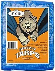 B-Air BA-GT-8X10-BL GTRP810 Grizzly 8 x 10 Feet Blue Multi Purpose Waterproof Poly Tarp Cover 5 Mil Thick 8 x 8 Weave, 8X10