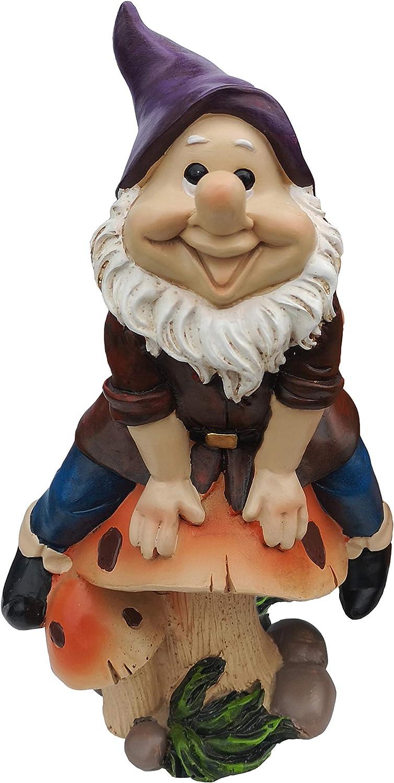 "Garden Gnome Statue Outdoor Decor Polyresin Gnome Sit on Mashroom 7"" Tall"