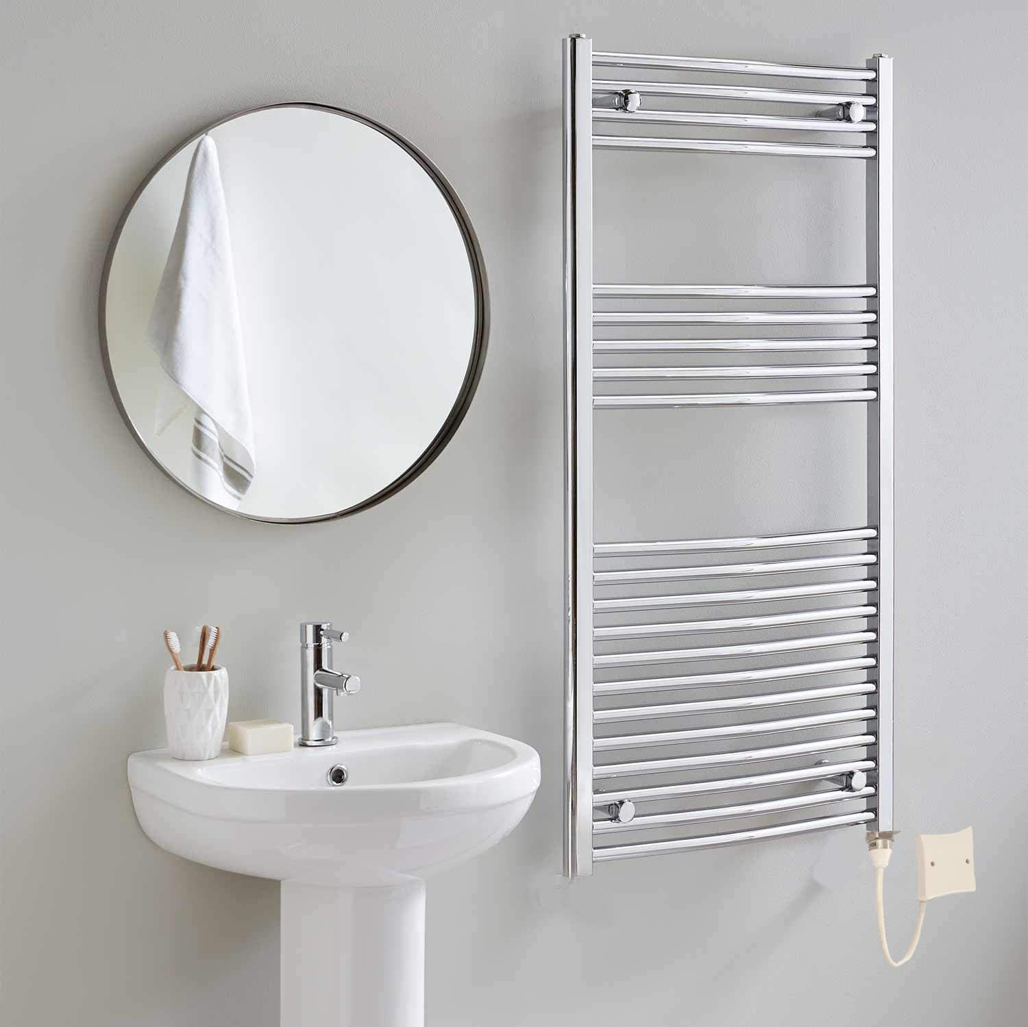 Timer and Room Thermostat Bathroom Towel Rails Greened House Electric Chrome 500W x 800H Flat Towel Rail