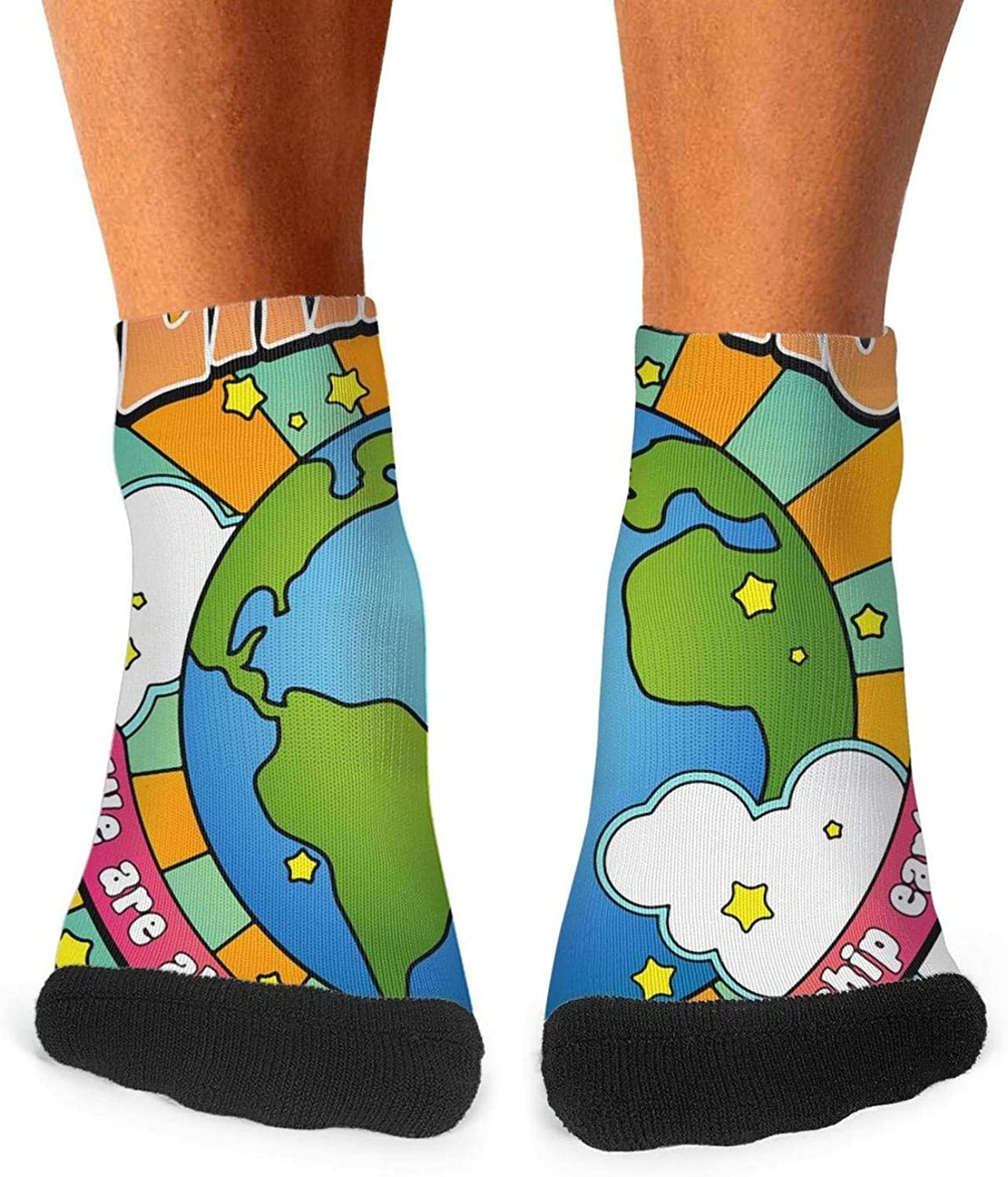 Floowyerion Mens Happy Earth Day poster Novelty Sports Socks Crazy Funny Crew Tube Socks