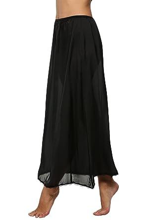 fbc572841c5bf Women's Long Half Slip Satin Elastic Waist Underskirt Petticoat with Lace  Trim (X-Large, Black)