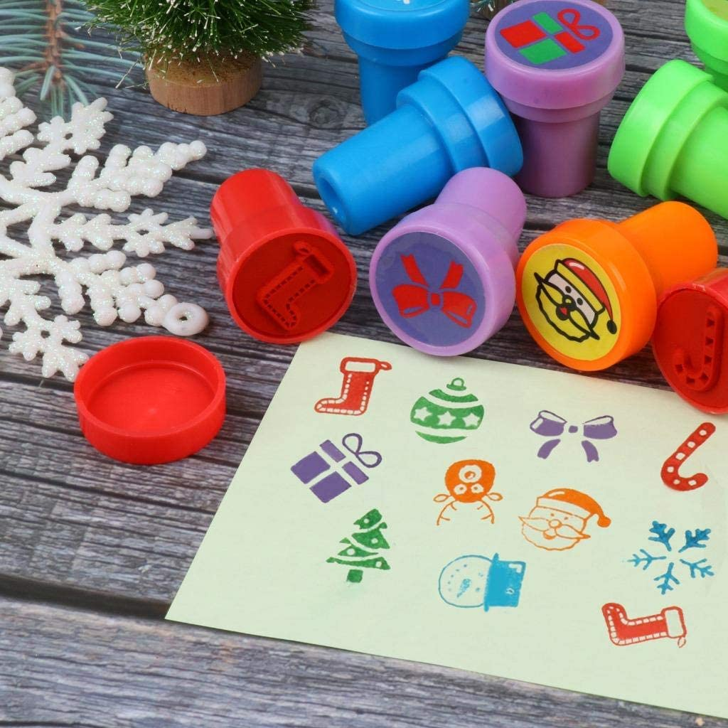 Goody Bag Favors 30 Pieces Christmas Assorted Stamps 10 Different Self Ink Christmas Stampers Best Rubber Self Inking Holiday Stamp Set for Kids Christmas Party Toys