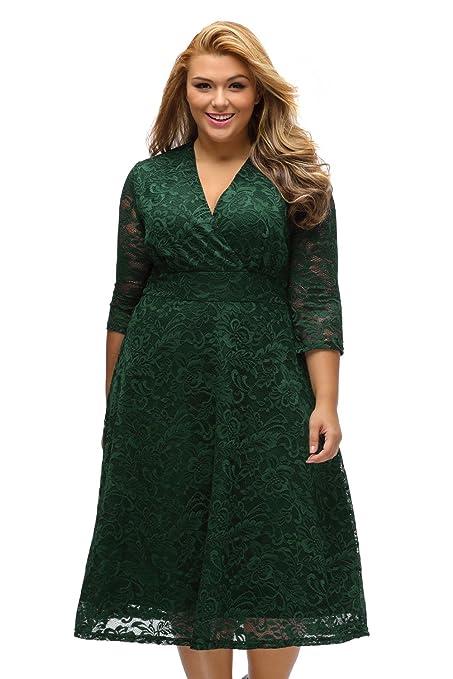 LittleLittleSky Womens Autumn Plus Size Surplice Lace Half Sleeve Formal Evening Dresses ((US 14
