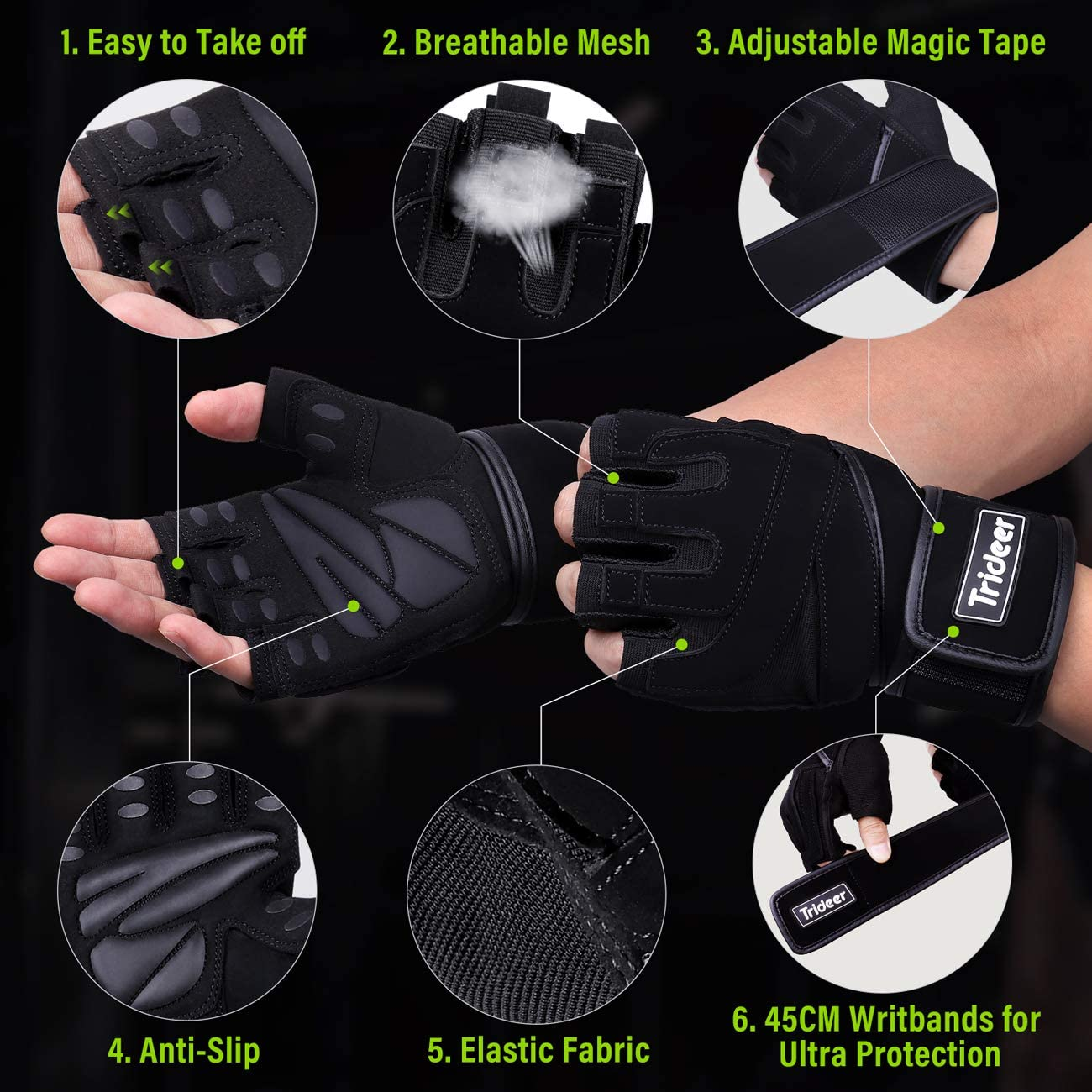 Trideer Workout Gloves Men, Gym Gloves with Wrist Support, Padded Weight Lifting Gloves Men for Fitness, Cross Training : Sports & Outdoors