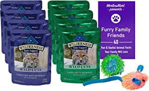 Blue Buffalo Wilderness Wild Cuts Grain Free Tasty Toppers Cat 2 Flavor 8 Pouch Variety - (4) Each: Chicken, Duck (3 Ounces) - Plus 2 Catnip Toys and Fun Facts Booklet Bundle