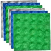 lujiaoshout Klassiska basplattor 25,4 x 25,4 cm plattor 100 % kompatibel med alla vanliga märken, 6-pack, grön/blå/grå