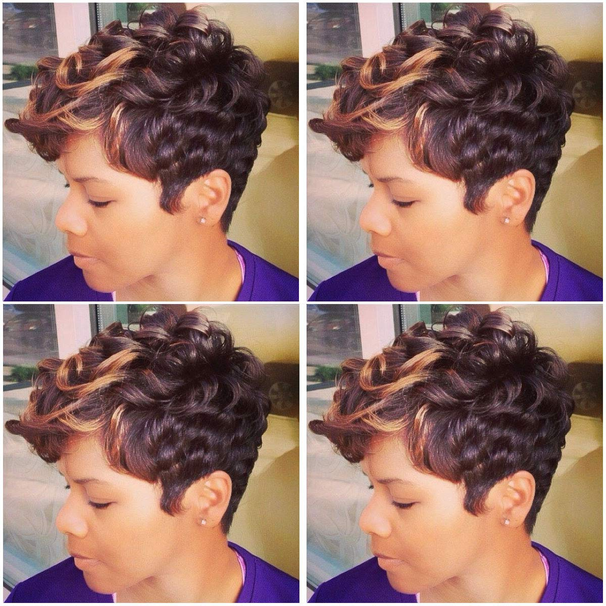 Beisd Short Ombre Blonde Brown Wig Short Curly Synthetic Wigs For Black Women Afro Curly Wigs For African American Women Black Women Hairstyles