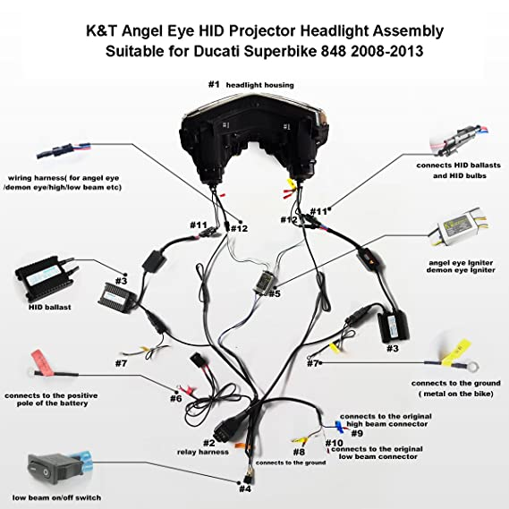 amazon com: kt led angel eye headlight assembly for ducati superbike 848  2008-2013 red demon eye: automotive