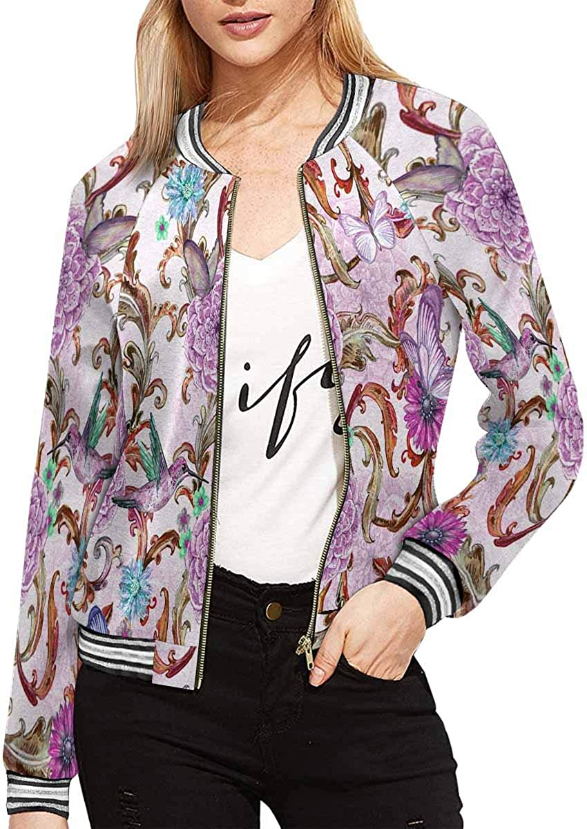INTERESTPRINT Watercolor Feathers and Lines Womens Jacket Zipper Coat Outwear