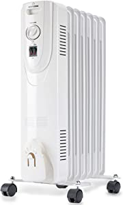 HEATZONE - 1500W - Electric Oil-Filled Home Energy-Efficient Portable Space Heater with Adjustable Thermostat Safety Shut-Off - 3 Heat Settings - White