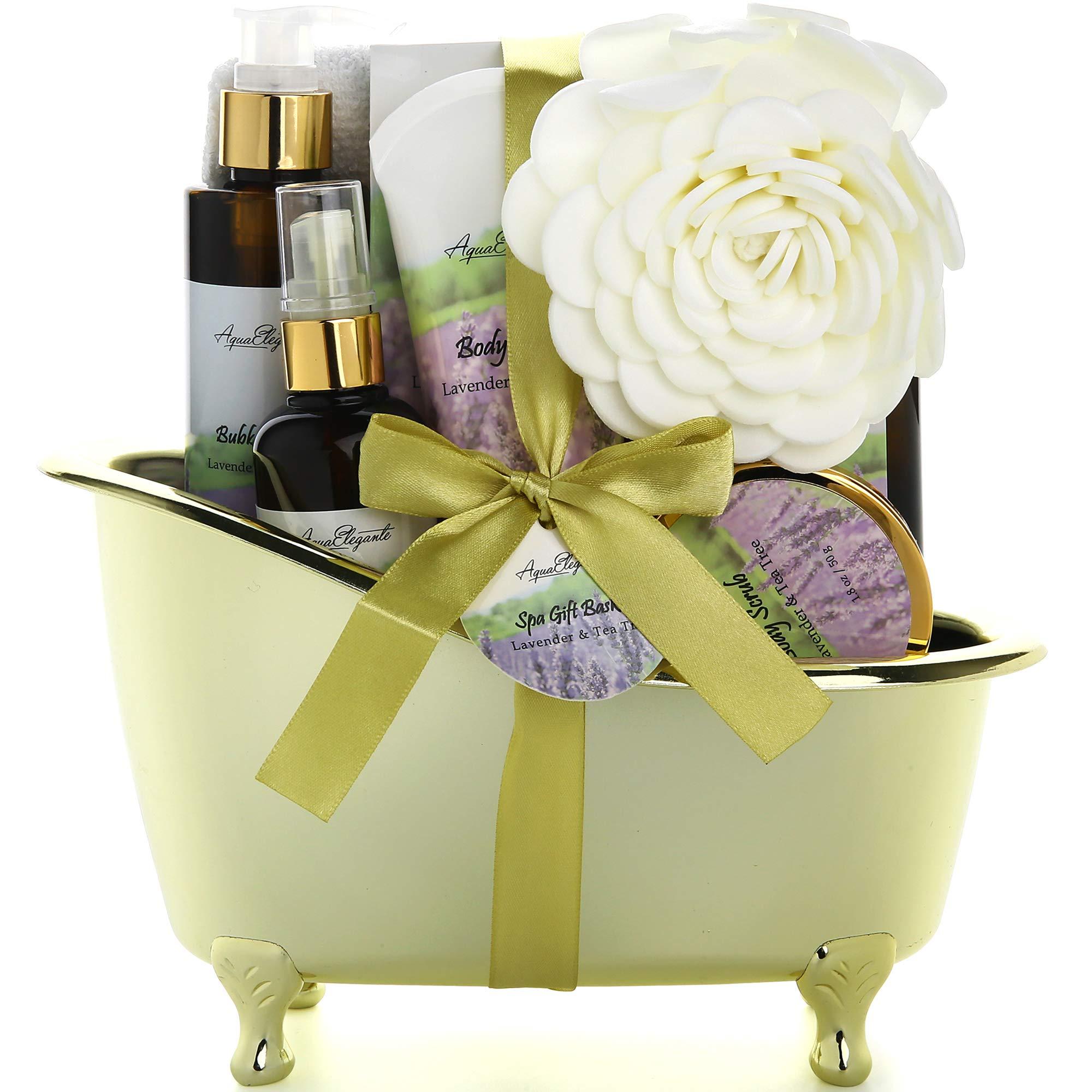 Spa Gift Baskets For Women - Luxury Bath Set With Lavender & Tea Tree Oil - Spa Kit Includes Body Wash, Bubble Bath, Lotion, Bath Salts, Body Scrub, Body Spray, Shower Puff, and Towel by Aqua Elegante