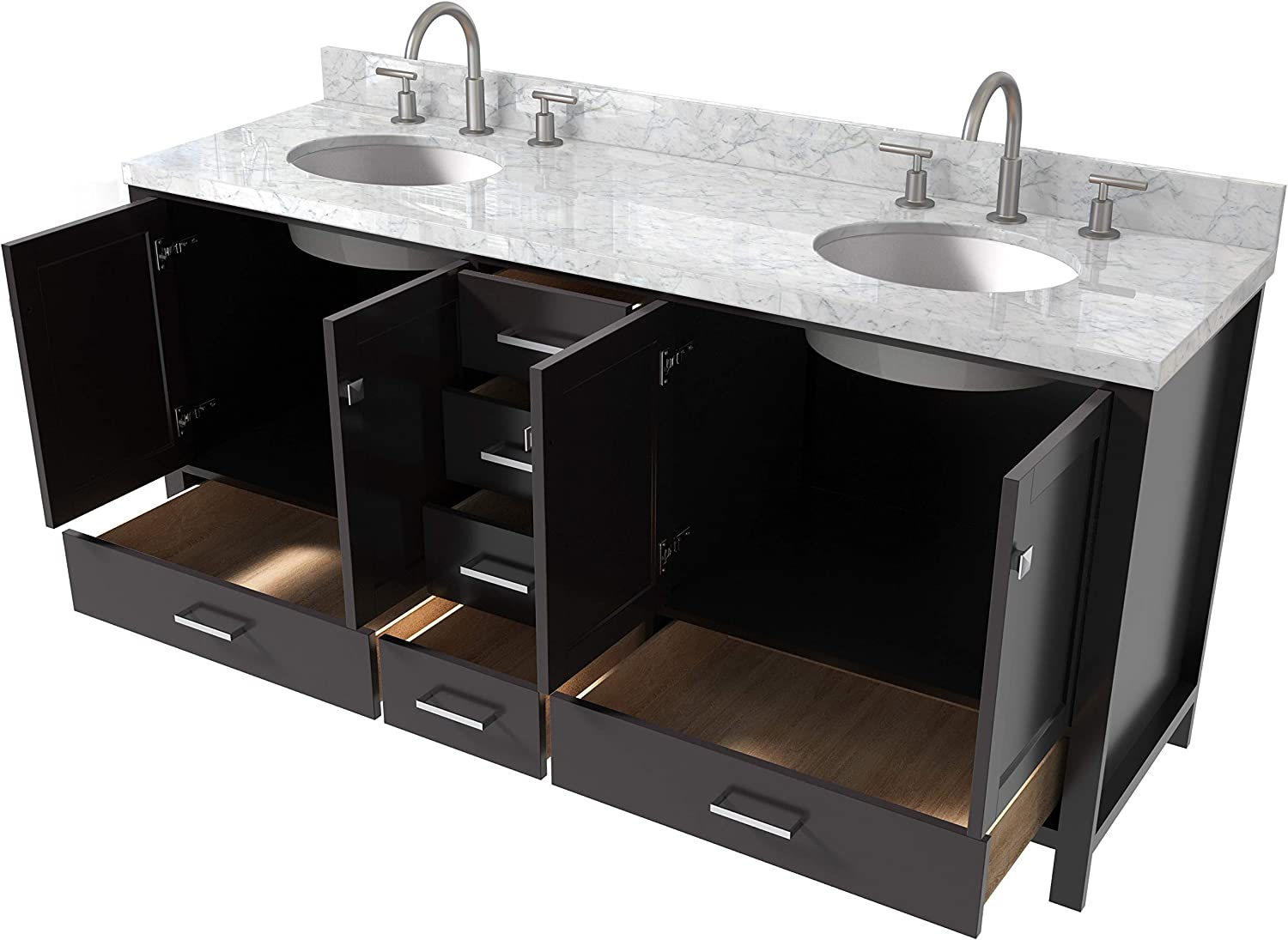 6 Full Extension Dovetail Drawers With Backplash  No Mirror ARIEL Bathroom Vanity 73 Inch Double Oval Sinks with Carrara White Marble Countertop in Espresso 4 Soft Closing Doors