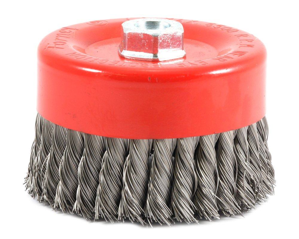 Forney 72756 Wire Cup Brush, Knotted with 5/8-Inch-11 Threaded Arbor, 6-Inch-by-.020-Inch