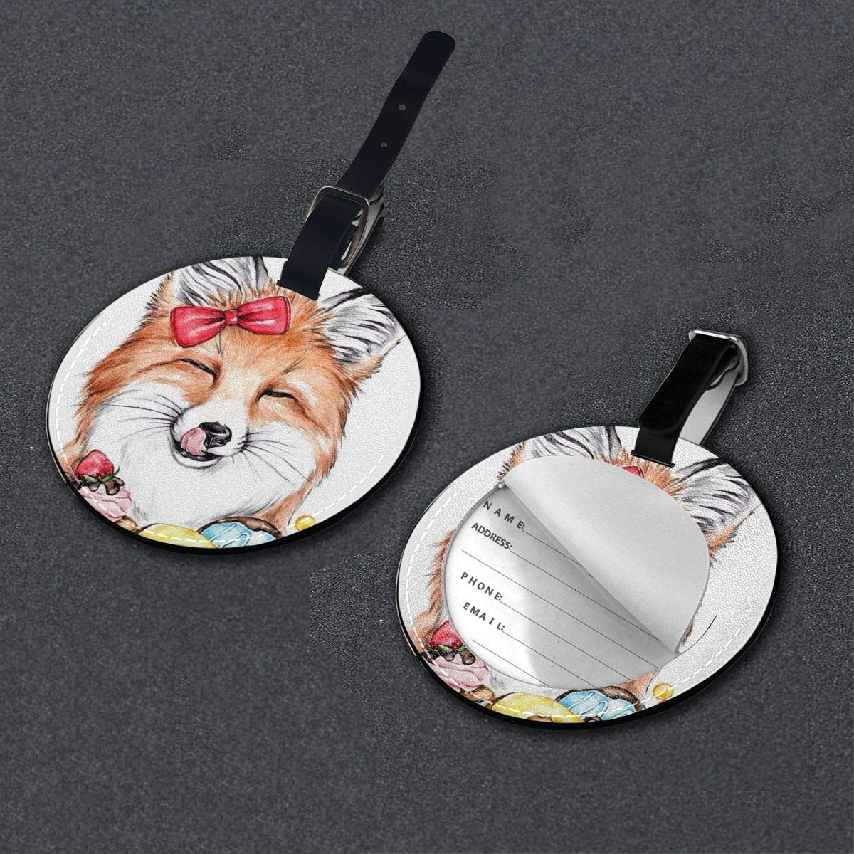 Lovely Sweet Dessert Fox Luggage Tags Suitcase Luggage Tags Travel Accessories Baggage Name Tags 2 PCS