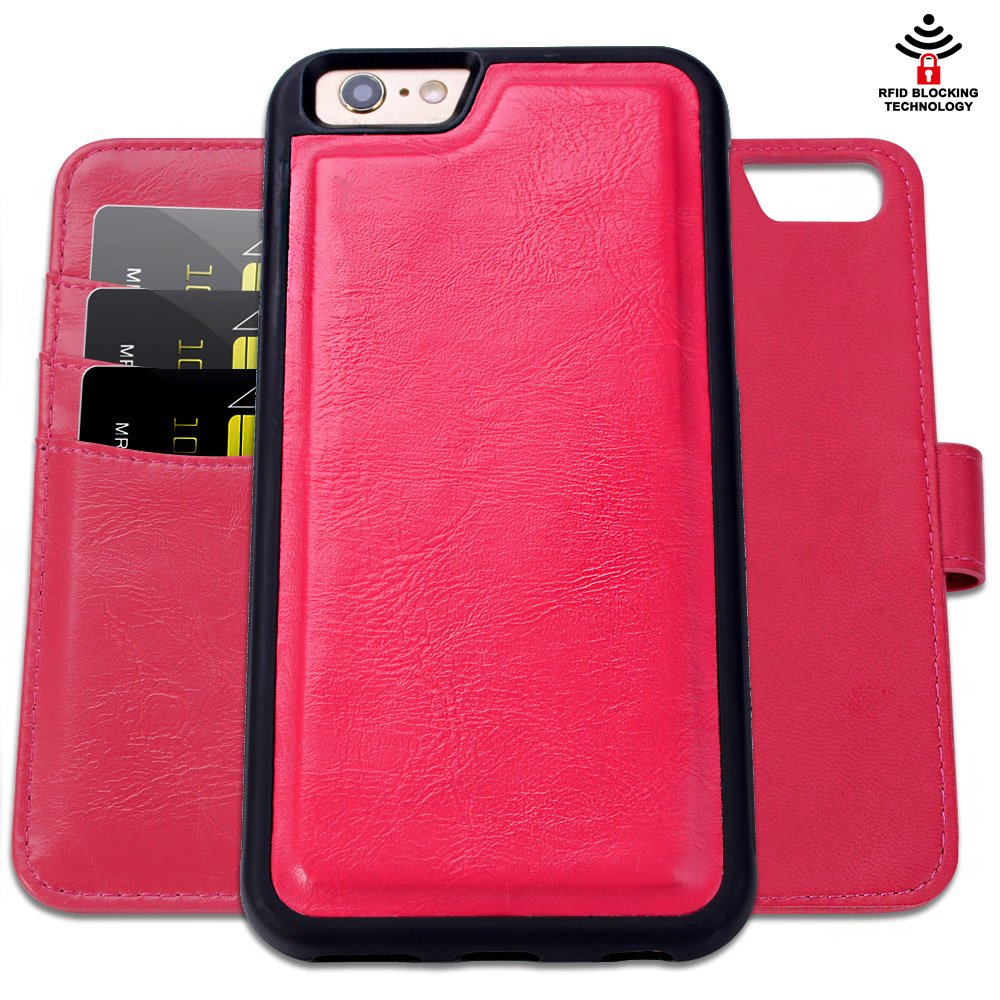 SHANSHUI Wallet Case Compatible Apple iPhone 6/6s, Premium PU Leather RFID Blocking Flip Case with Magnetic Detachable Folio [Kickstand] [Card Slots] 4.7 Inch - Black I6BCASE110-1