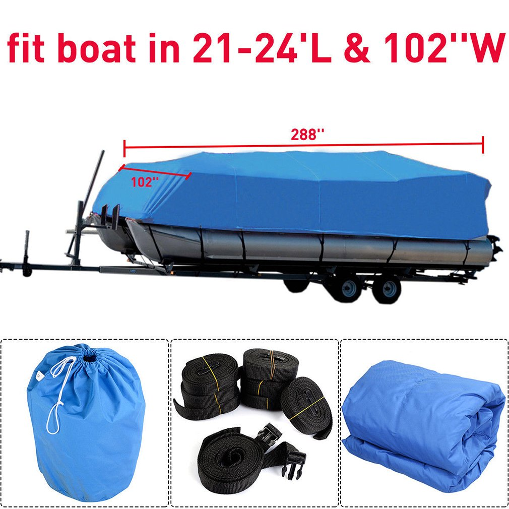 OUTAD Durable 600D Oxford Waterproof Heavy Duty Fabric Trailerable Pontoon Boat Cover Storage Tool Accessories-Marine Grade Polyester Canvas Fits for 21-24 Ft Length Boats