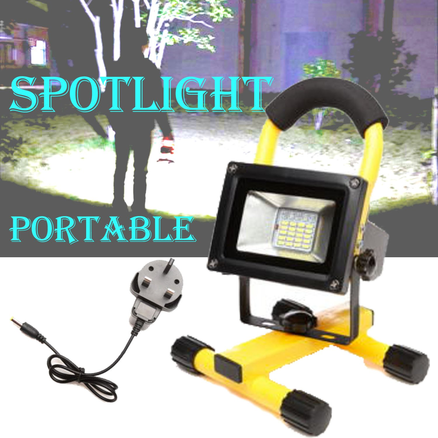 60W LED Work Light 6000lm IP65 Waterproof Site Lights Spotlight Outdoor Stand Detachable Floodlight 6000K Daylight(Yellow) SiKy Factory