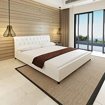 Bedombouw 180 200.Weilandeal Structure Of Bed 180 X 200 Cm Artificial Leather White