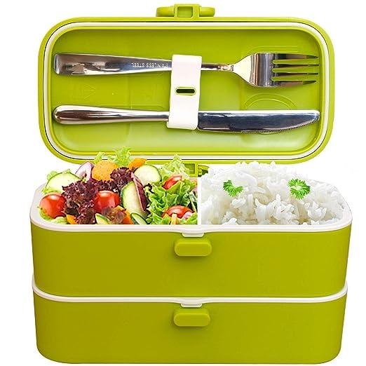 Veggycook Fiambrera lunch box 100% Hermética 1200ml sin bpa cubiertos de acero inoxidable incluidos