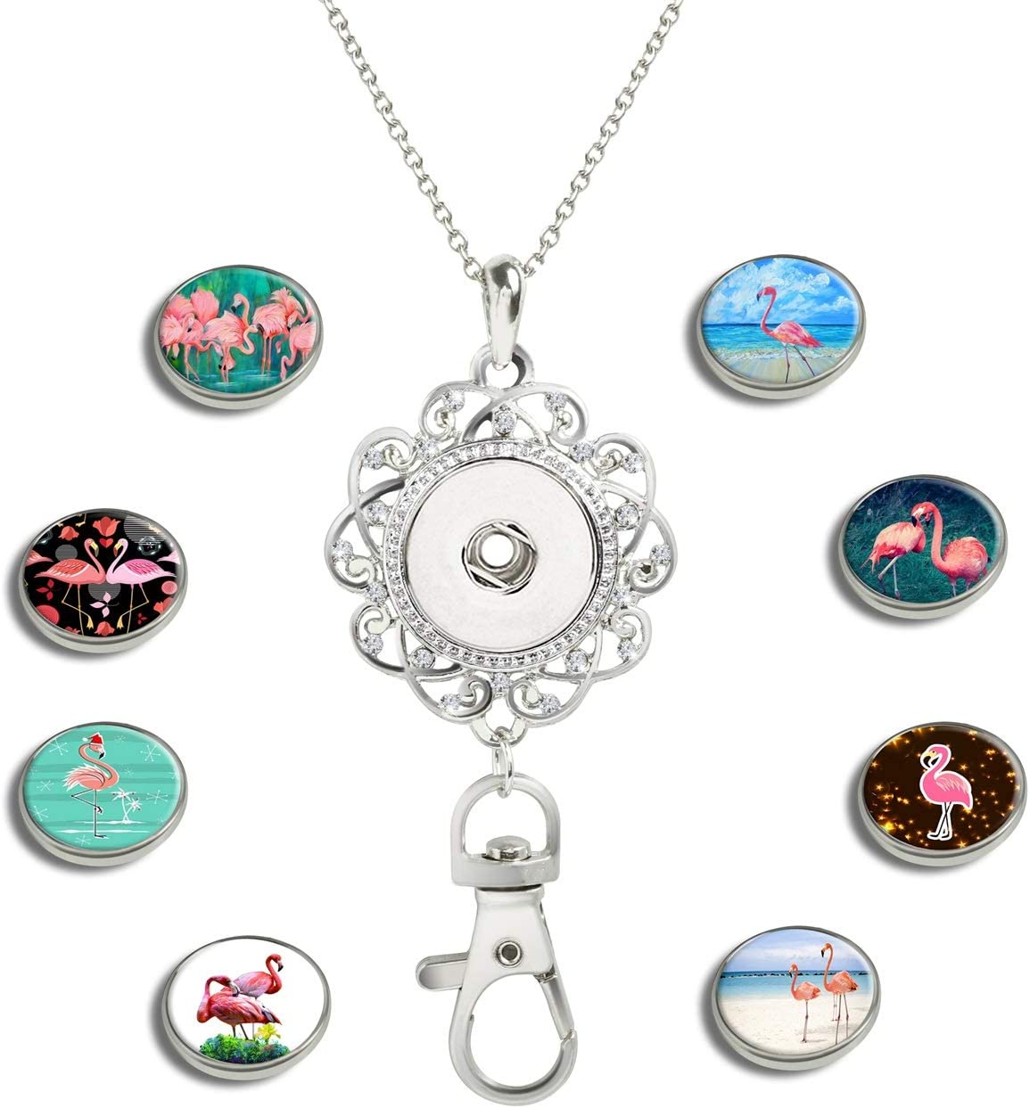 GDEE CUSTOM Womens Office Lanyard ID Badges Holder Necklace with 8pcs Image Glass Snap Charms Jewelry Pendant Clip Animal Panda-03