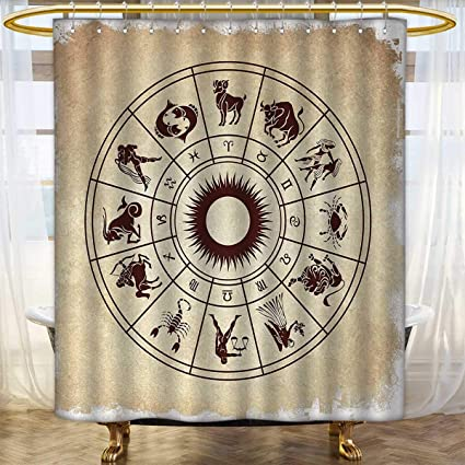 Anhounine Zodiac Shower Curtains Mildew Resistant Wheel Of Horoscope Icons On The Distressed Backdrop Cosmos Occult
