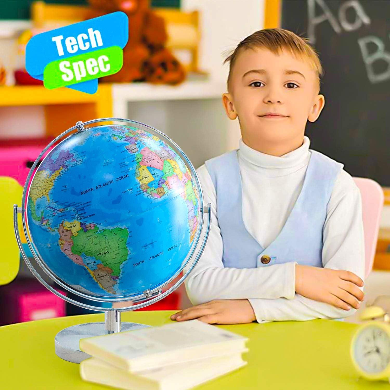 Illuminated Globe Globes of The World with Stand Globe for Kids Globe lamp 8 Geographic Globe with LED Light Illuminated 2-in-1 Desktop World Globe Discovery Educational World Globe