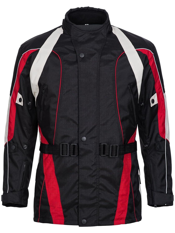 Limitless Herren Motorradjacke mit Protektoren und Reflektoren - Motorrad Jacke Cordura Textil - wasserdicht Winddicht Schwarz Rot Weiß Grau 788 Gr. 4XL 788-4XL