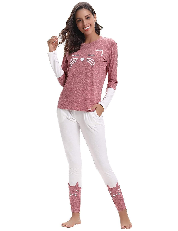 Aibrou Women's Cotton Short Pjs Set, Cute Printed 2 Pieces Loungewear PJS Set Nightwear
