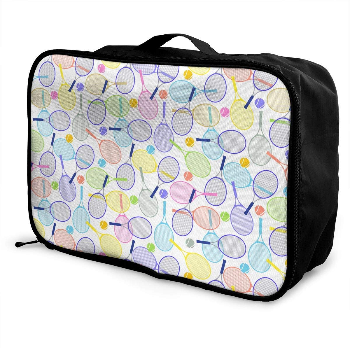 JTRVW Travel Luggage Trolley Bag Portable Lightweight Suitcases Duffle Tote Bag Handbag Tennis Rackets And Balls Pattern