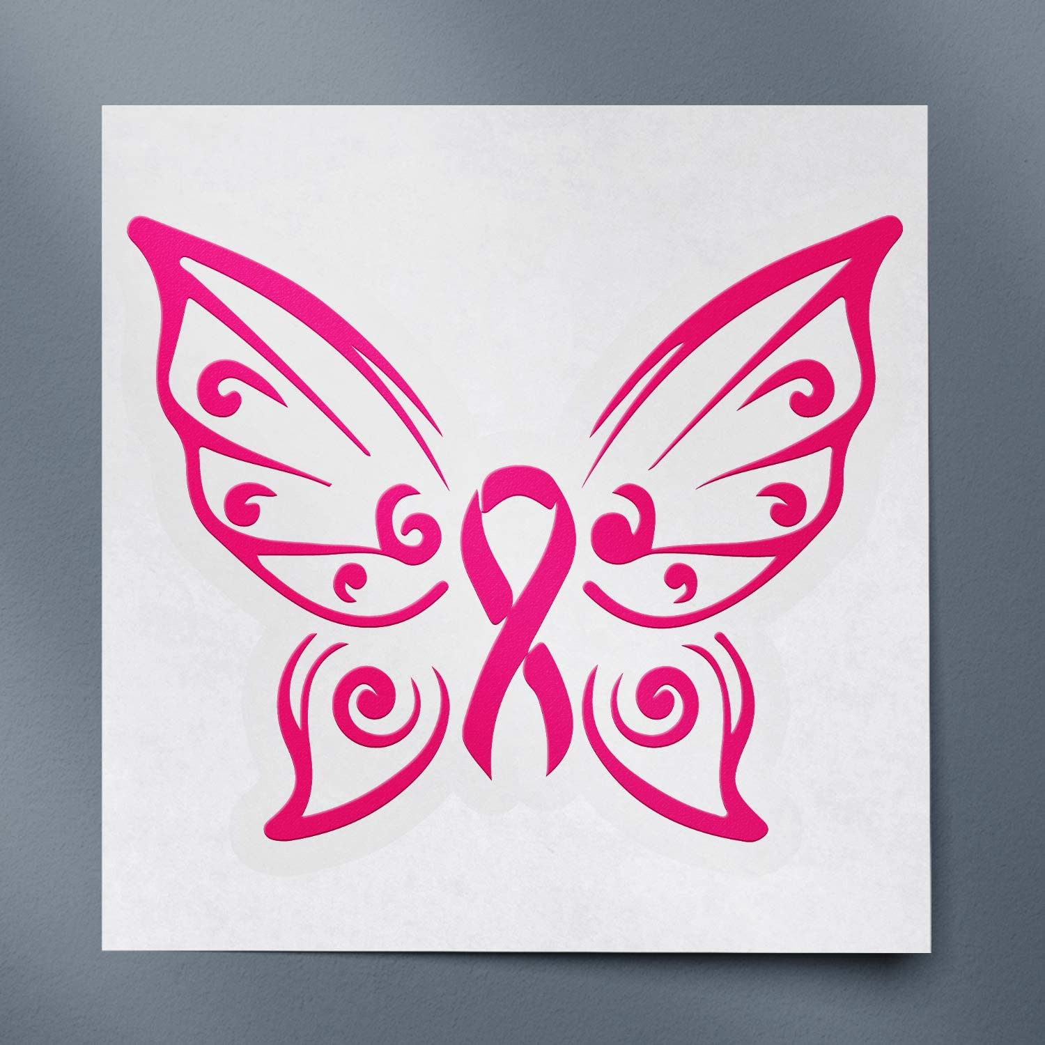 Cancer Awareness Butterfly Wings With Pink Ribbon (Pink) (Set Of 2) Premium Waterproof Vinyl Decal Stickers For Laptop Phone Accessory Helmet Car Window Bumper Mug Tuber Cup Door Wall Decoration