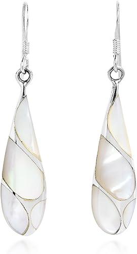 MOTHER OF PEARL /& 925 Sterling Silver Earrings Jewelry Teardrop Shape