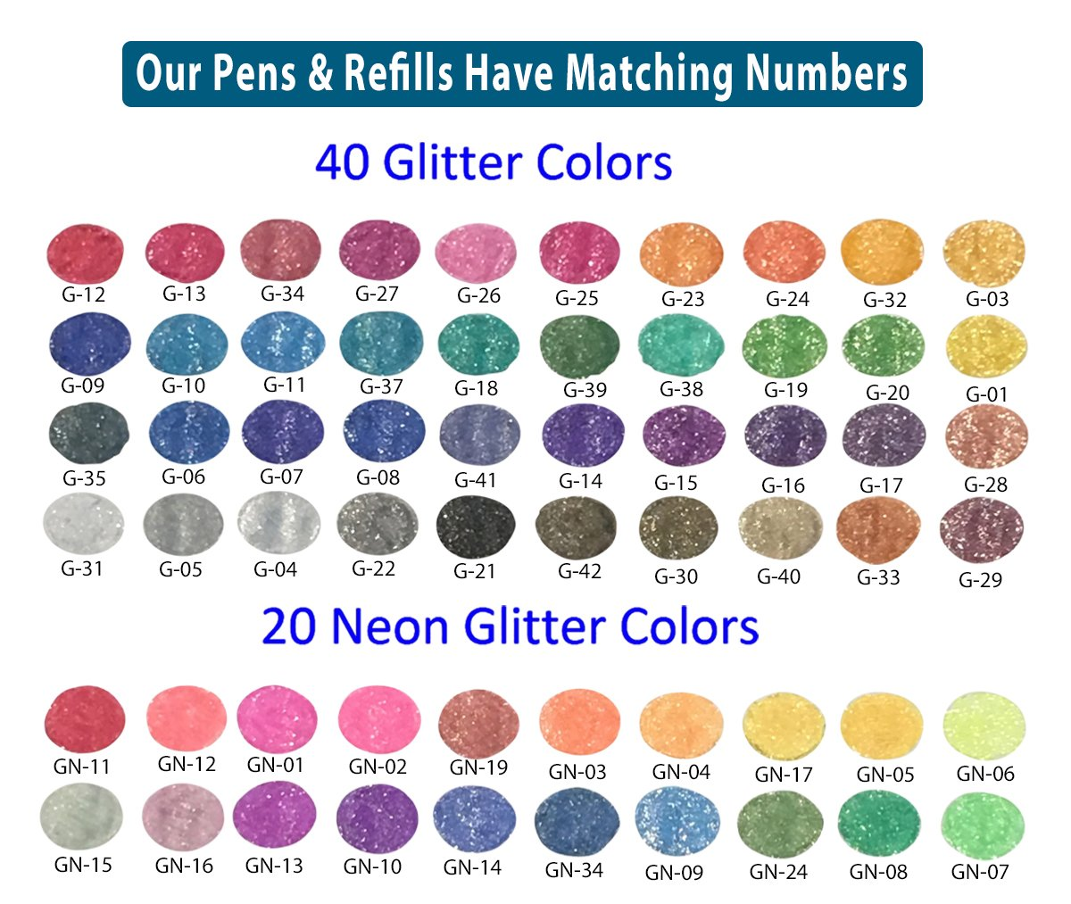 My Color Store 120 Glitter Gel Pens Set, 60 Glitter Pens + 60 Refills, Fold-able Case + Gift Box by Overseas Publishers Representatives (Image #5)