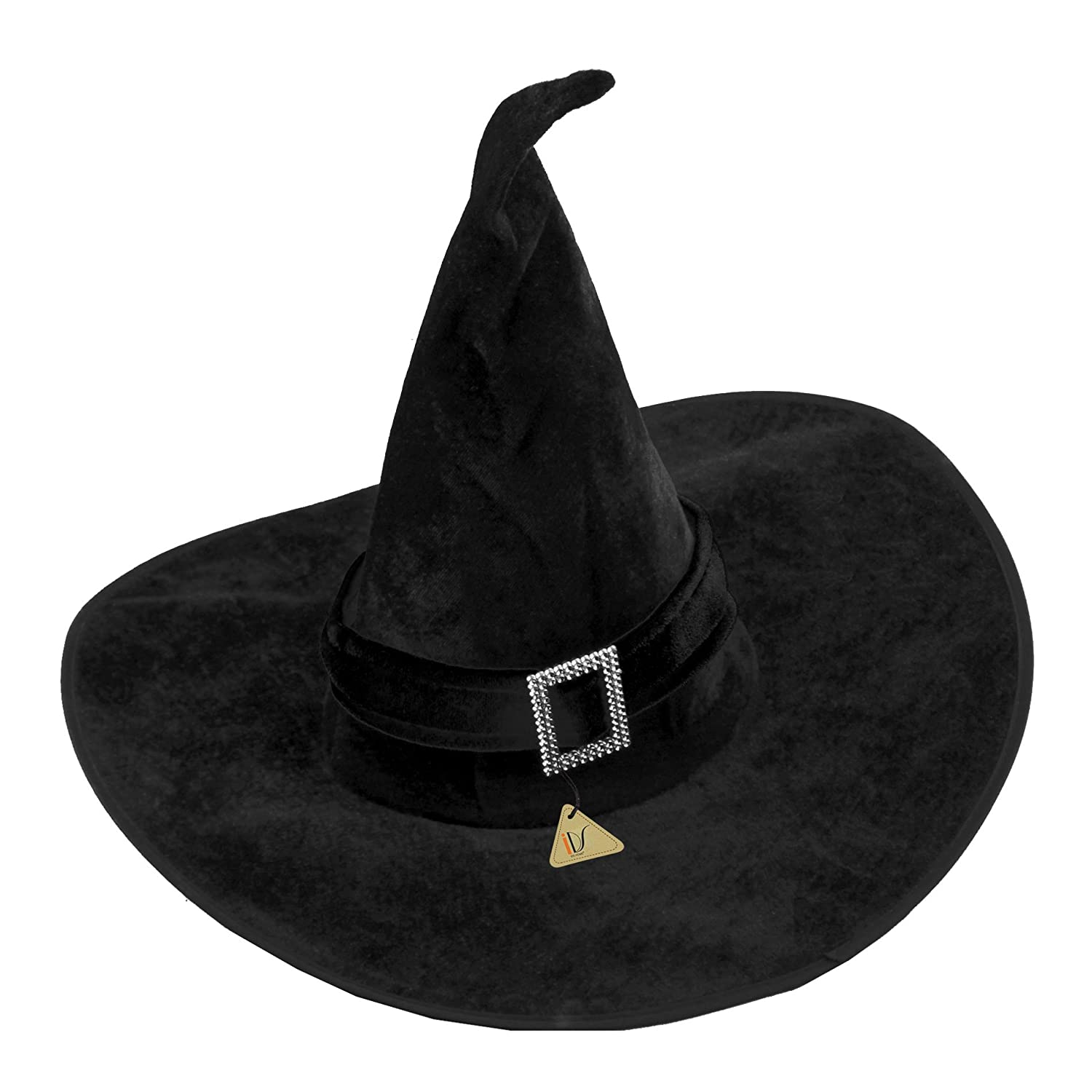 Amazon.com: IDS Home Black Velour Witch Hat Halloween Fancy Dress ...