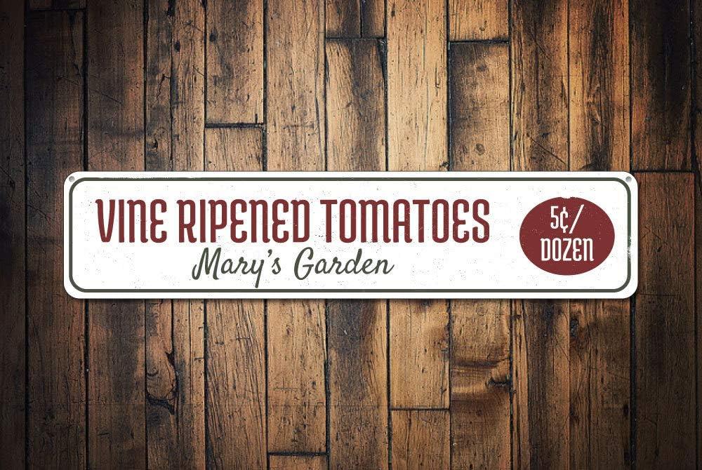 Vine Ripened Tomatoes Sign, Persoanlized 5 Cents Per Dozen Gardener Name Gift, Custom Metal Garden Lover Decor, Tomato - Quality Aluminum, Metal Signs Tin Plaque Wall Art Poster 18