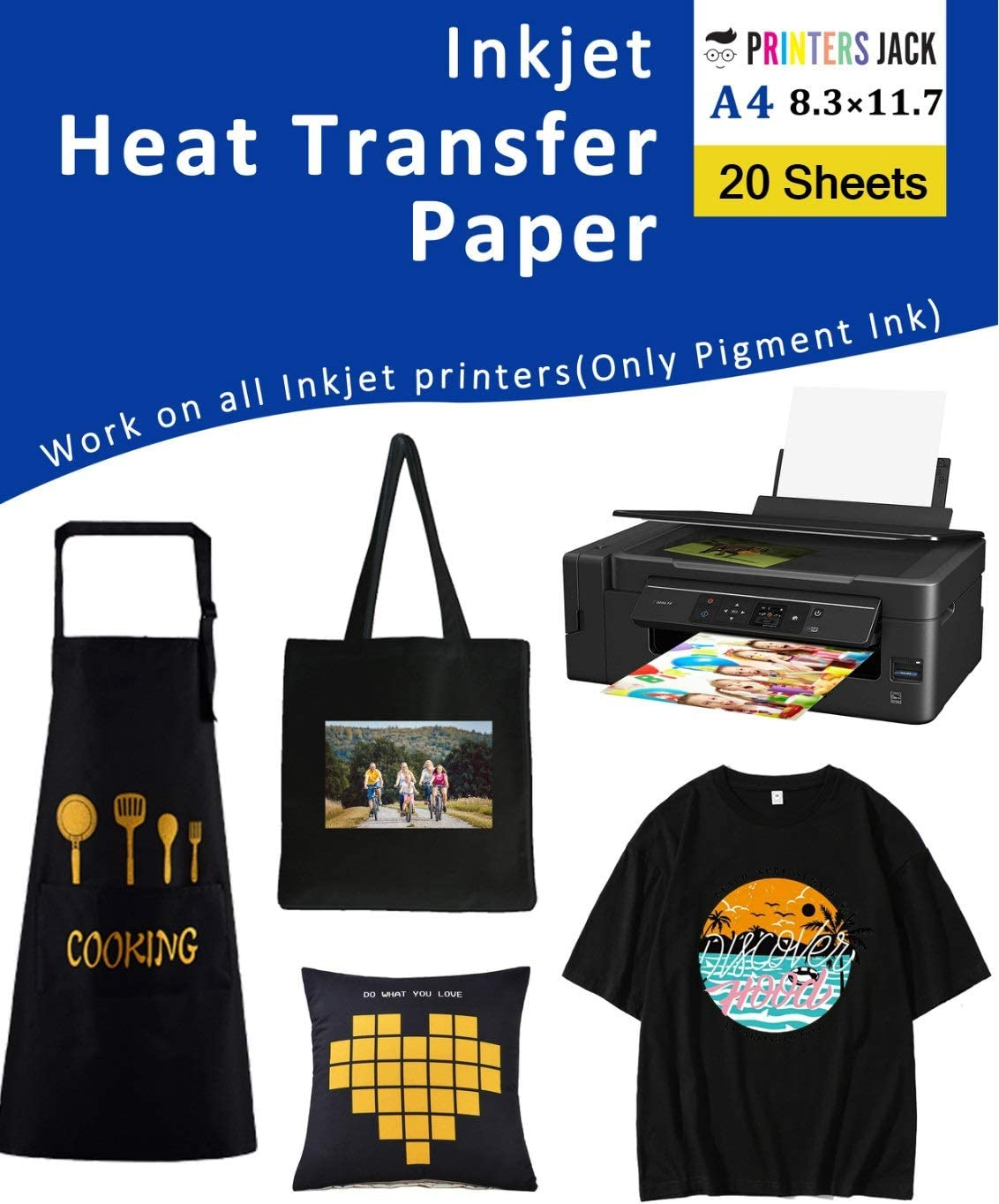 Iron-On Heat Transfer Paper for Dark Fabric 20 Pack 8.3x11.7