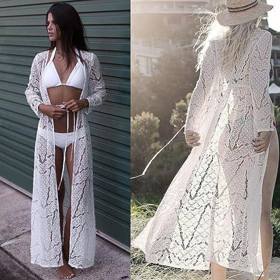 Bikini Cubrir mujer, ❤ Amlaiworld Vestido mujer Sexy Verano Mujeres Crochet Boho Bikini Maxi Cover Up Cárdigan kimono de encaje de playa Trajes de Baño ...