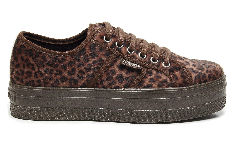 TALLA 37 EU. Zapatillas Victoria 09228 - Plataforma Blucher Animal Print Cuero mujer