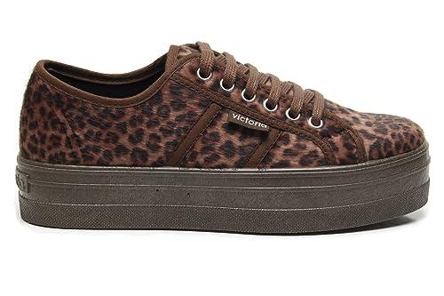cfc425bf54b Zapatillas Victoria 09228 - Plataforma Blucher Animal Print Cuero mujer   Amazon.es  Zapatos y complementos