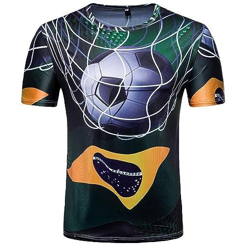 zarupeng Camiseta para hombre Camiseta estampada para fútbol Camiseta manga corta para verano Copa del mundo