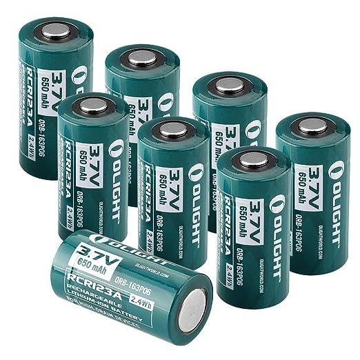 66 opinioni per Olight RCR123A 8 Pezzi Batterie al litio ricaricabile 16340 650mAh 3,7V 1 Anno