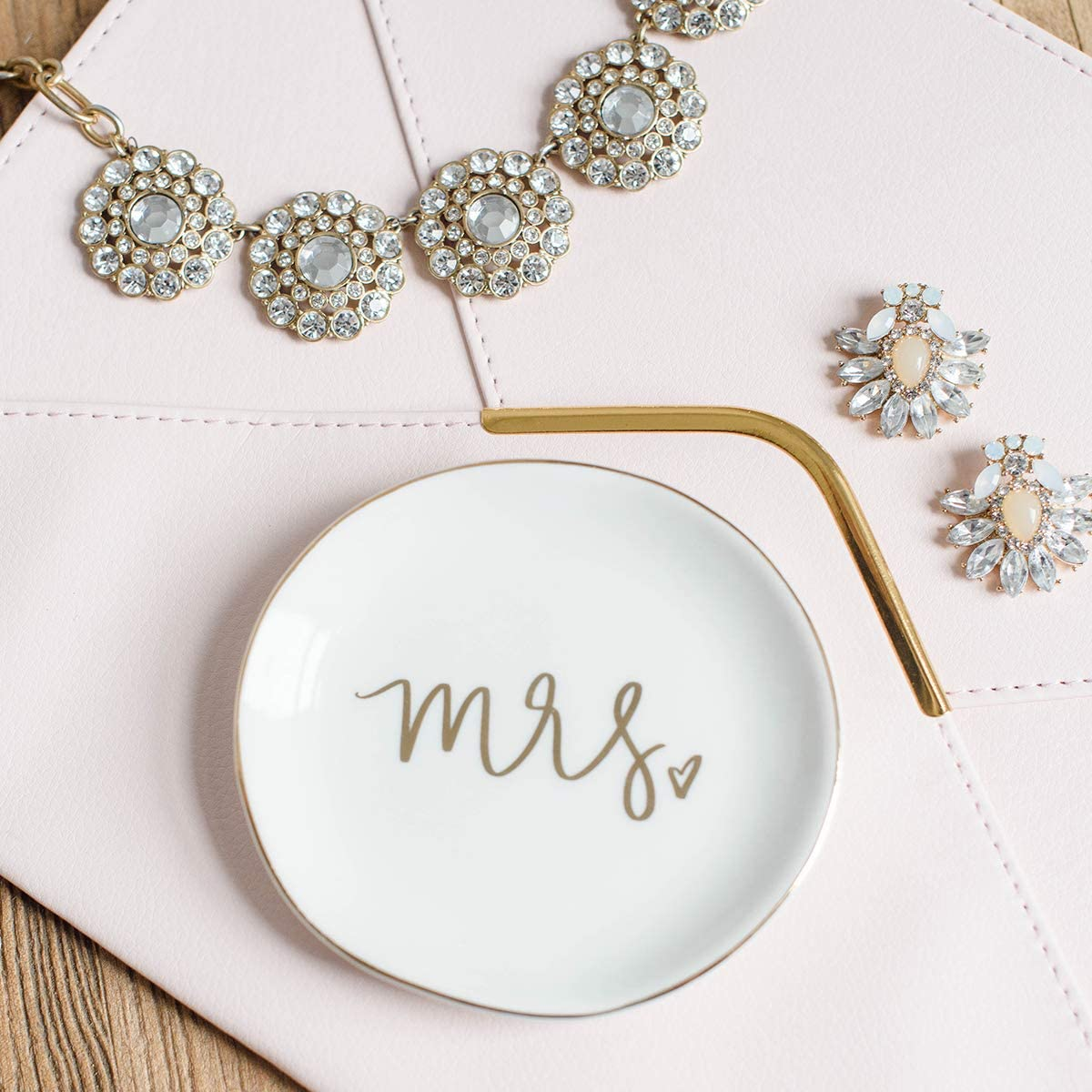 Sweet Water Decor Jewelry Dish Tray   Great for His and Her Engagement Engaged Ring Dish Holder Bride Ring Holder Gold Ceramic Trinket Tray Wedding Accessories (Mrs): Home Improvement