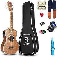 Ukulele Soprano Electric Ukulele Mahogany Wood Solid 21 inch Best Acoustic Ukelele Beginners Starter Kit, by Vangoa